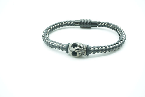 Leather & Steel Braided PVD Skull