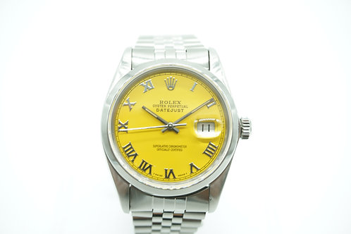 Rolex Datejust Yellow Roman numerals Dial Stainless Steel