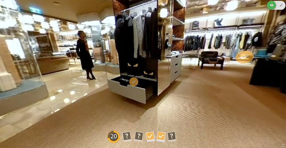 Timed hazard spotting activity Video Interact created for Fendi