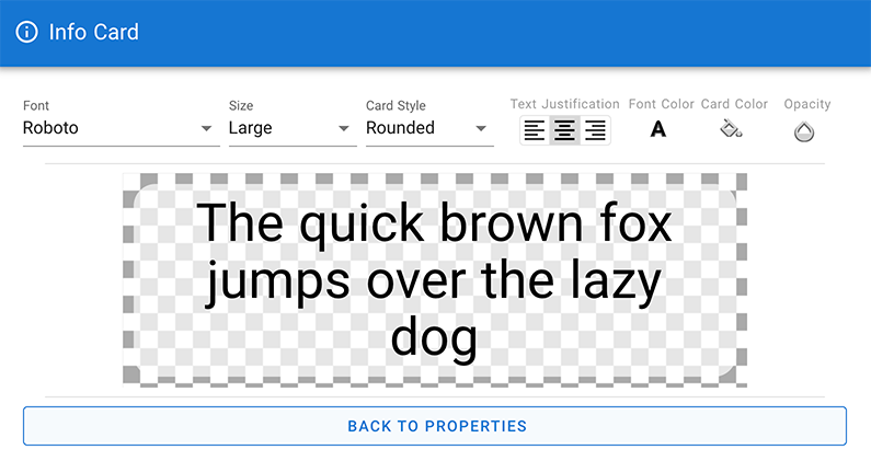 Info card text style options in CenarioVR