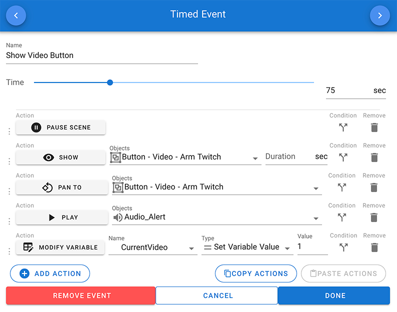 Timed event options in CenarioVR