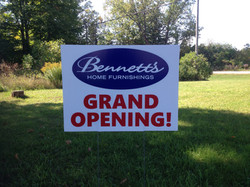 Bennetts Grand Opening Sign
