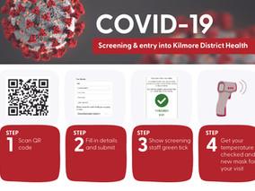 QR code screening at KDH