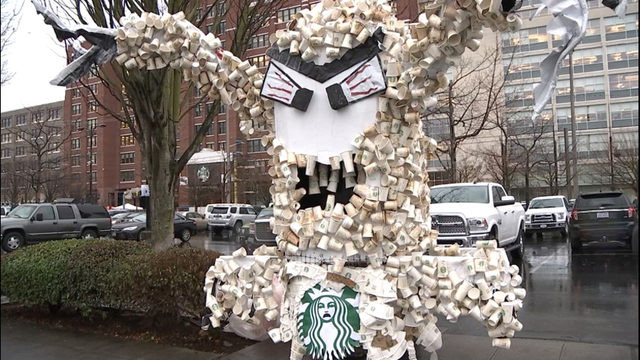 Seattle Starbucks plastic cup recycling monster protest