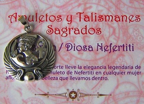 Amuleto De Plata Diosa Nefertiti Con Cruz Anka 30 Mms