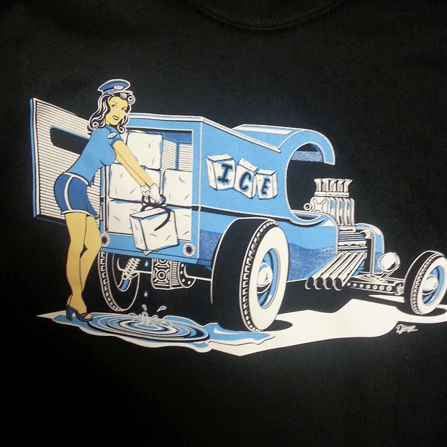 Cool tee shirt design created by Chad Hill that we printed for our friend Travis at Artisan Ice Scul