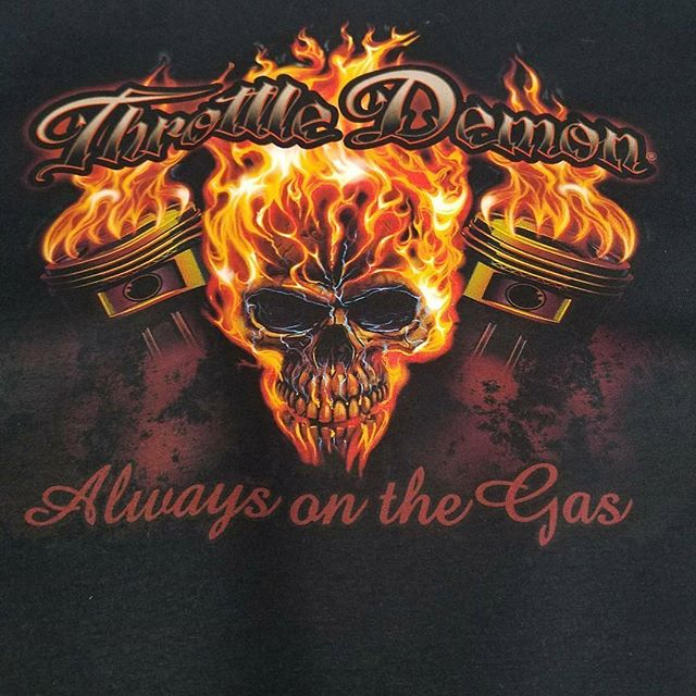 Unfiltered pic of a killer tshirt we print for Throttle Demon Brand featuring art by our talented bu