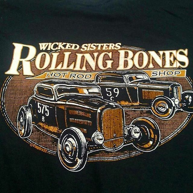 Killer tshirt design we printed for our friends at Rolling Bones Hot Rod Shop #rodtees  #tshirtsando