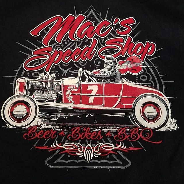 Printed a reorder of these tshirts for our friends at Macs Speed Shop featuring an awesome tshirt de