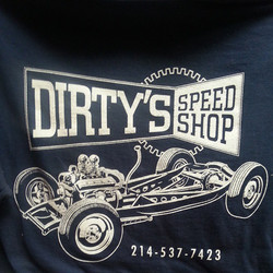 Mike Shoaf created this killer tee shirt design that we printed for Dirtys Speed Shop #hamb #hotrod