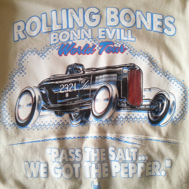 Jeff Norwell created this killer tee shirt design that we printed for The Rolling Bones #bonneville