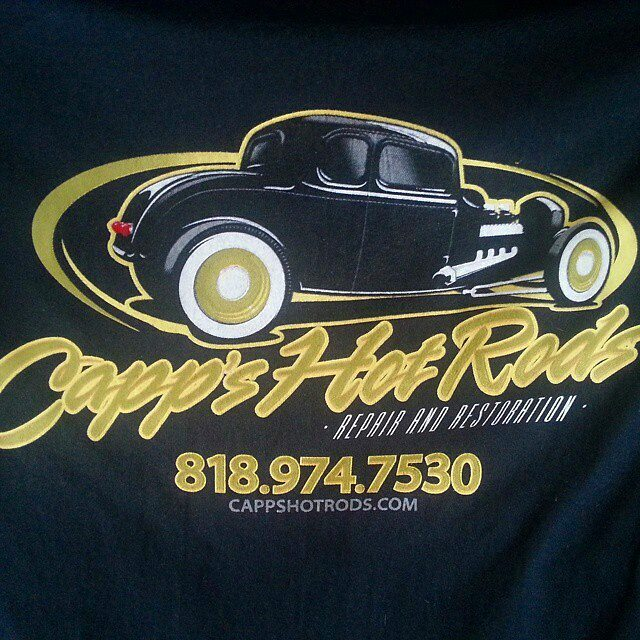 Cool tshirts we printed for Capps Hot Rods featuring a cook design by Chad Cox..