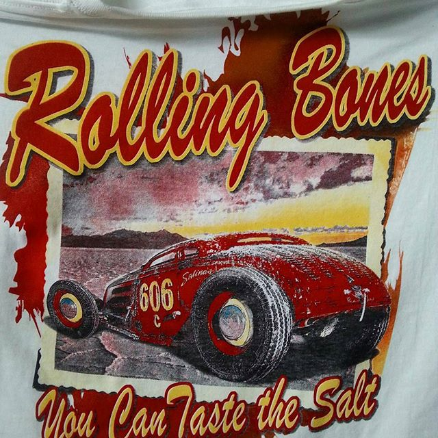 Fun tshirt project we screenprinted for the Rolling Bones #rollingbones #hotrod #saltflats #tshirtsa