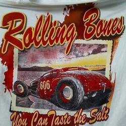 Fun tshirt project we screenprinted for the Rolling Bones #rollingbones #hotrod #saltflats #tshirtsa