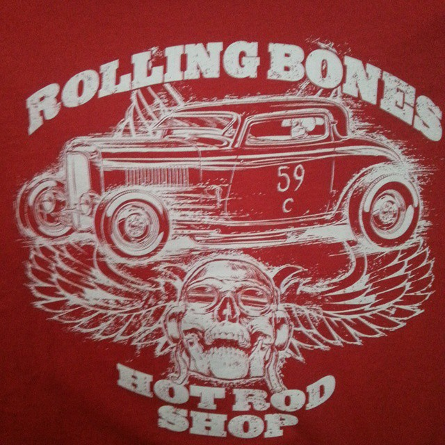Jeff Norwell created this stellar tee shirt design that we printed for our friends at The Rolling Bo