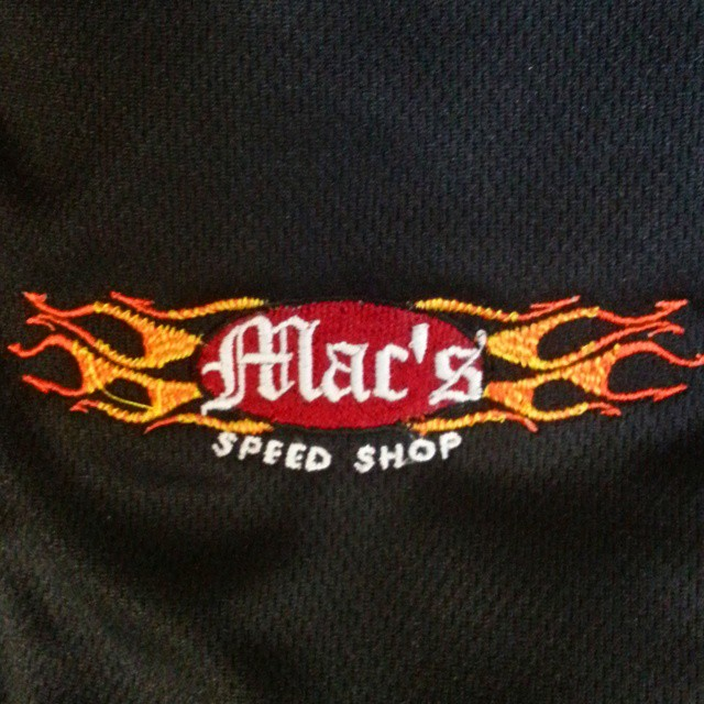 Some embroidery on tap today for our friends at Macs Speed Shop..