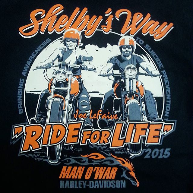 We printed these tee shirts for the Shelbys Way _Ride for Life_ featuring artwork by the very talent