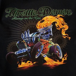 unfiltered pic of a tshirt we print for Throttle Demon Brand featuring killer art by Dan Hughes _thr