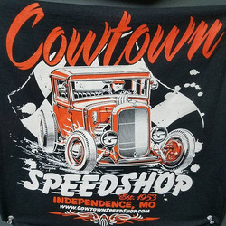 cool tee shirts we printed for good folks at Cowtown Speed Shop featuring a killer design by our bud