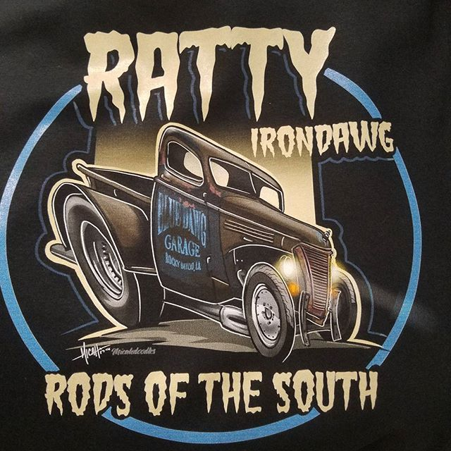 T-shirts we printed featuring some kool art by Micah Claycamp #rodtees #tshirtsandothercrap #ratrods