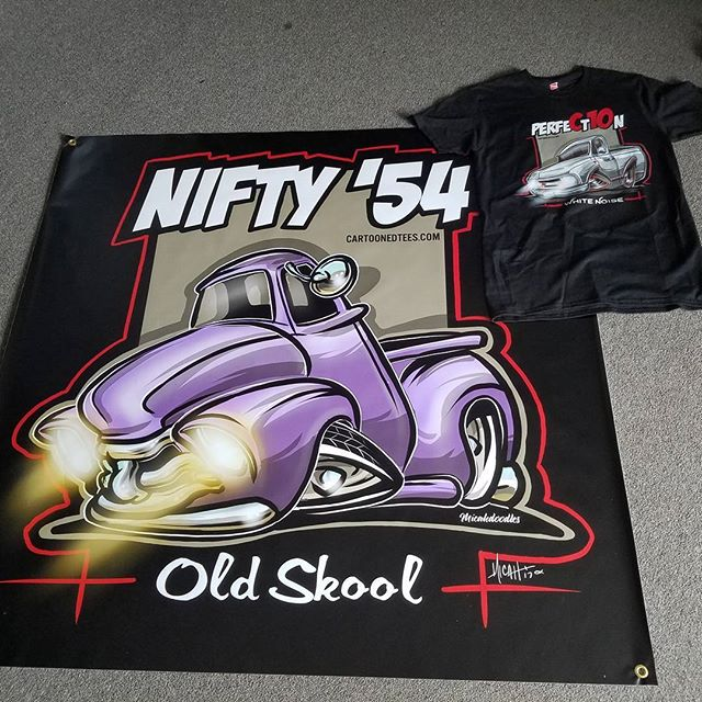 Kool banner we printed for cartoonedtees.com featuring art by __micahdoodles_ Check out their killer