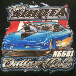 We printed these tee shirts for a drag race team north of the border featuring artwork by our talent