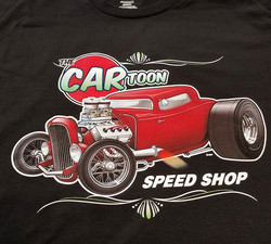 Cool sample shirt we printed for our talented friend Jim Kinne of Cartoon Speed Shop #rodtees #tshir