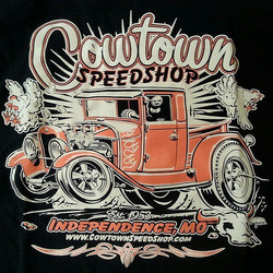 Cool tshirts we printed for Cowtown Speed shop featuring a killer design by _gerdutchcouragepeters #