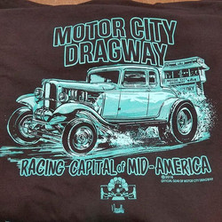 cool shirts we printed for our buddy Art and his Motor City Dragway featuring kimmer art by our tale