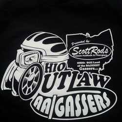 We printed these tees for the Ohio Outlaw Gassers and our buddy David Chapman did the design for the