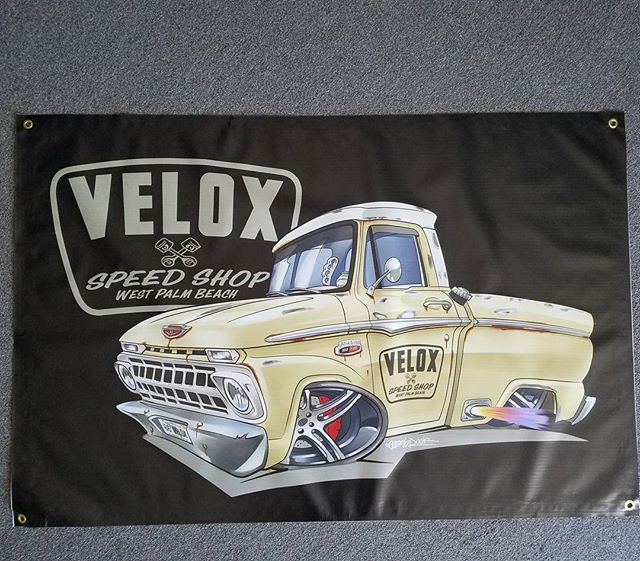 Kool mancave banner we made for _jeff_bye_ and Velox Speed shop with artwork by _dazzlarock #rodtees