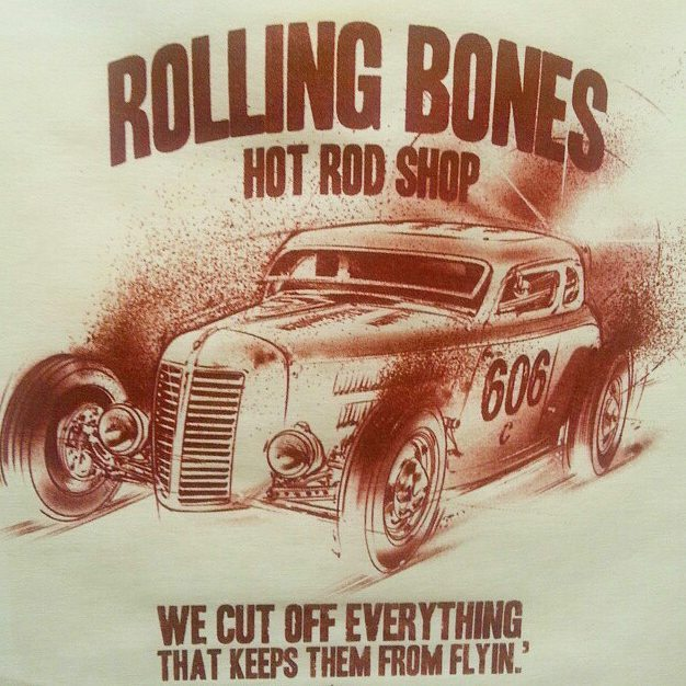 Cool tshirts we printed awhile back for the Rolling Bones Hot Rod Shop featuring killer art by _jeff