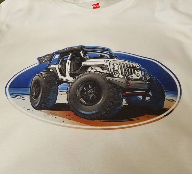 Cool shirts we printed featuring killer art by our talented buddy Brett of _sketchmyride ..