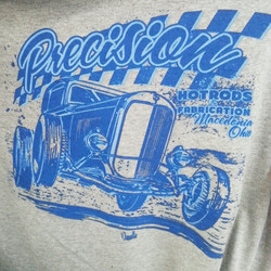 We printed these tee shirts for Precision Hot Rods and Jeff Norwell created the design for them #ham