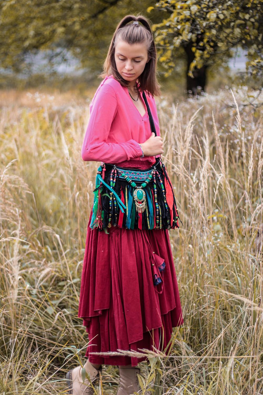 black fringe bag, emerald purse, vegan suede bga