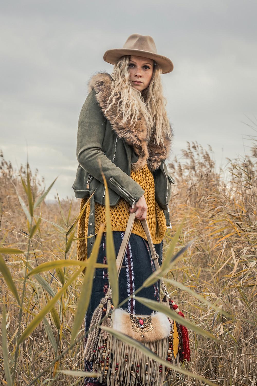 boho winter styling, layered outfit, bohemian styling