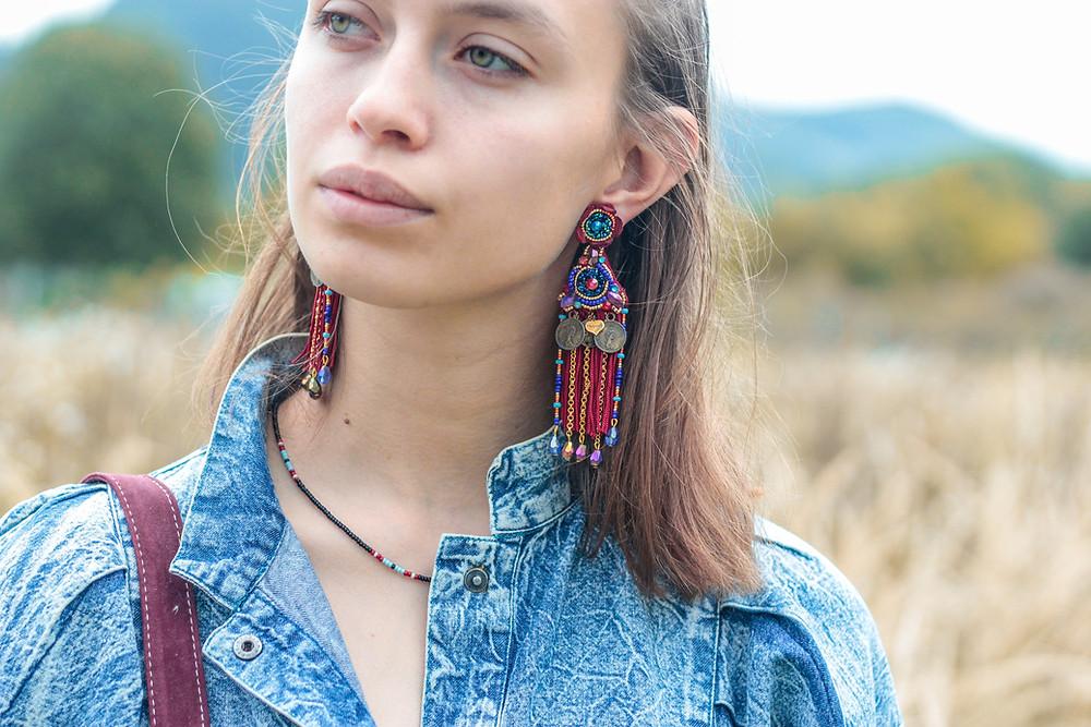 beaded tribal earrings, tribal accessories