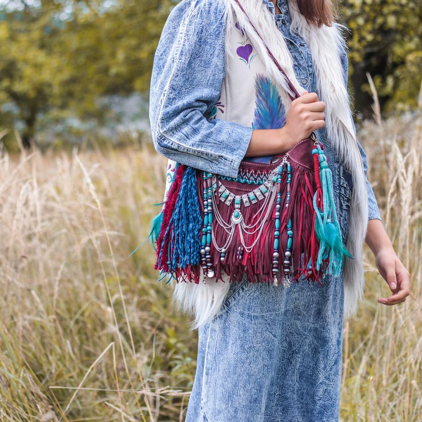 bohemian bag, statement jewelry boho