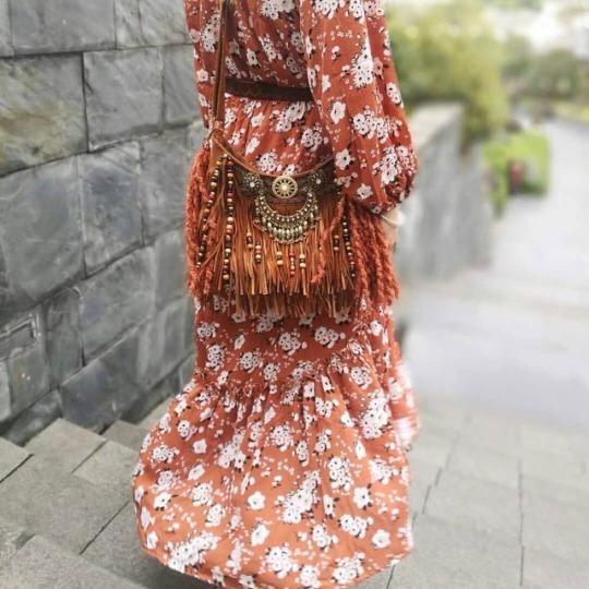 spell dress, fringe bag