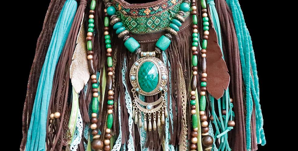 Emerald Fringe Bag