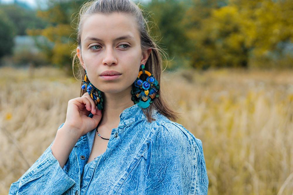 big feather earrings, posh earrings, bohemian hoops
