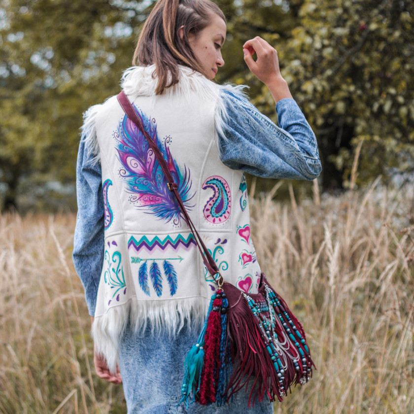 bohemian vest, painted feather clothes