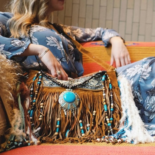 turquoise fringe bag