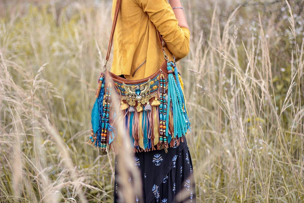 fringe bag, colorful turquoise fringe bag, boho fringe bag