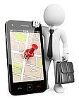 Monigote apoyado en un smartphone en cuya pantalla se ve un mapa con una coordenada marcada