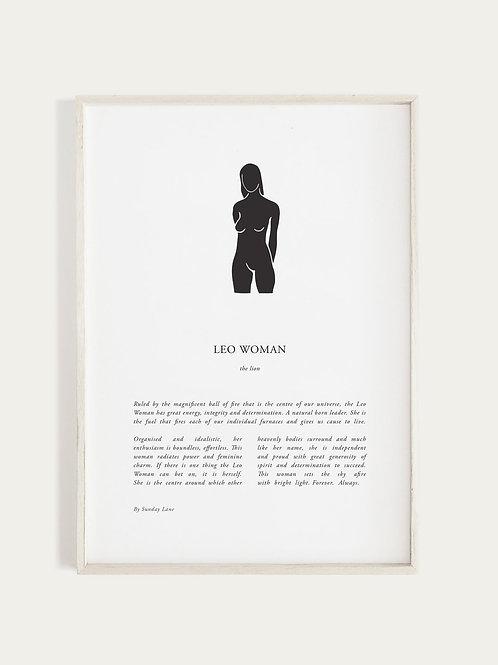 Sunday Lane Zodiac 03 Series - Leo Woman Print