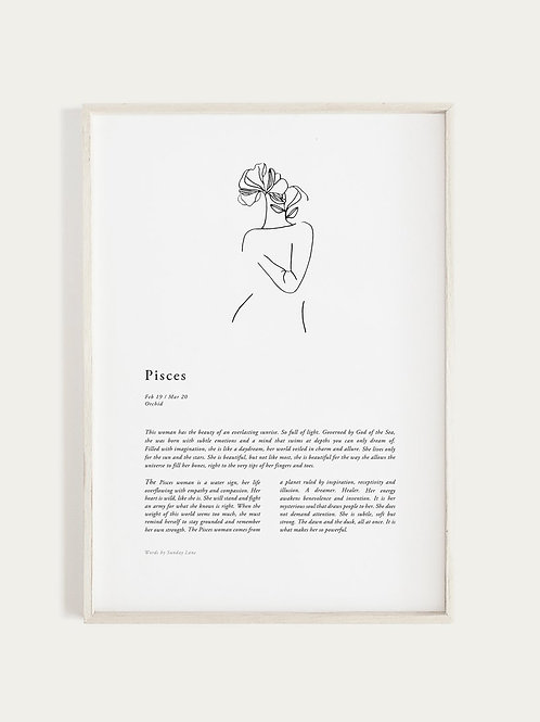 Sunday Lane Orchid Series - Pisces Woman Print