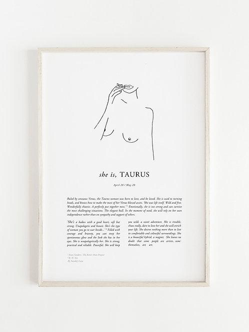 Sunday Lane - Taurus Woman Print
