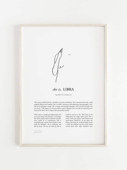 Sunday Lane - Libra Woman Print