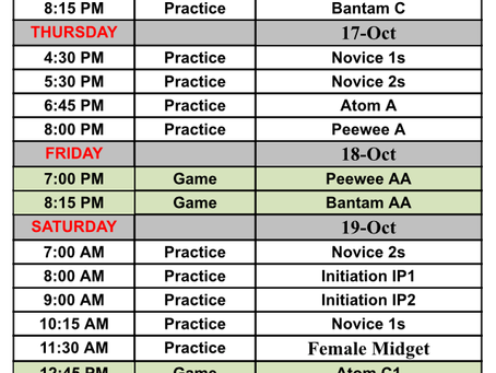 Schedule for October 14-20
